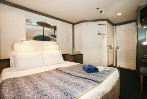 $1439.00 per person IA – Interior Cabins at deck 3 (~11 sqm) can accommodate up to 4 person(s), with 2 lower beds, 3rd/4th berth, bathroom with shower, air condition, telephone, hair dryer, safety deposit box and TV.